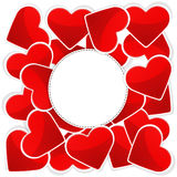 Muster mit Weißbuch und roten Herzen Stockbild