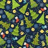 Muster mit Weihnachtsbaum, Schneeflocke und Huhn für Winterurlaube entwerfen Schablone für Postkarten, Grüße Lizenzfreie Stockbilder