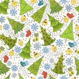 Muster mit Weihnachtsbaum, Schneeflocke und Huhn für Winterurlaube entwerfen Schablone für Postkarten, Grüße Stockbild