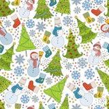 Muster mit Weihnachtsbaum, Schneeflocke und Schneemann Stockfotografie