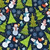 Muster mit Weihnachtsbaum, Schneeflocke und Schneemann Stockbilder