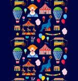 Muster mit Zirkus- und Unterhaltungselementen stock abbildung