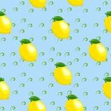 Muster mit Zitrone und Blättern Lizenzfreie Stockbilder