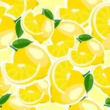 Muster mit Zitrone und Blättern Stockfoto