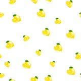 Muster mit Zitrone und Blättern auf weißem Hintergrund Lizenzfreie Stockbilder