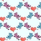 Muster mit zwei Vögeln und dem Herz gebrochenen Stele Stockbild