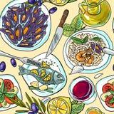 Muster-Mittelmeerlebensmittel Simpless-handabgehobenen Betrages stock abbildung