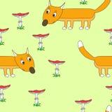 Muster nahtlos mit einem Fuchs lizenzfreie abbildung