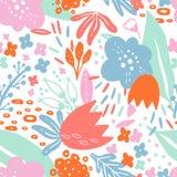 Muster-nahtlose Vektor-Blumenanlage Abstrakte einfache natürliche Botanik Gezeichnete Art des Schattenbildes Hand Moderne Auslegu lizenzfreie abbildung