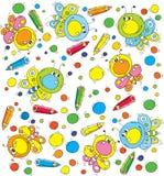 Muster-Schmetterling und Bleistifte Lizenzfreie Stockbilder