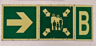 Muster station directional sign aboard ship Royalty Free Stock Photo