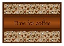 Muster: Tasse Kaffees und Kaffeezubehör, Kaffeebohnen Th Lizenzfreie Stockfotos