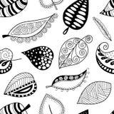 Muster treibt schwarze Kontur auf weißem Hintergrund Blätter Lizenzfreie Stockfotografie