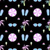 Muster-Vektorflipflops des Palmenregenschirmes nahtlose Stockfotografie