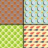 Muster-Vollkostkochen der gesunden Nahrungsproteinfettkohlenhydrate nahtloses kulinarisch und Lebensmittelkonzeptvektor stock abbildung