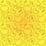 Muster von Äpfeln auf einem gelben Hintergrund stock abbildung