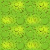 Muster von Äpfeln auf einem grünen Hintergrund lizenzfreie abbildung