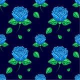 Muster von blauen Rosen Lizenzfreies Stockbild