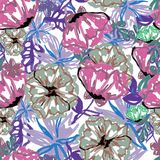 Muster von Blumen in der Aquarellart Lizenzfreies Stockbild