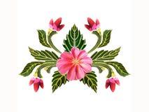 Muster von Blumen und von Blättern Stockbild