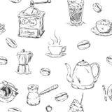 Muster von cofee Satz Lizenzfreie Stockfotografie