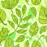 Muster von dekorativen grünen Blättern lizenzfreie abbildung