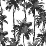 Muster von den Aquarellpalmen Stockfotografie