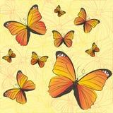 Muster von gelben Schmetterlingen Stockbild