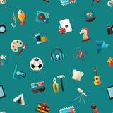Muster von modernen flachen Designhobbyikonen und Stockfotografie