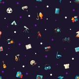 Muster von modernen flachen Designhobbyikonen und Lizenzfreie Stockfotografie