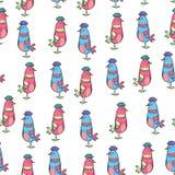 Muster von netten Vögeln auf weißem Hintergrund Lizenzfreies Stockbild