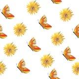Muster von orange Schmetterlingen und von Blumen lizenzfreie abbildung