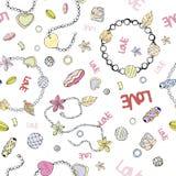 Muster von Perlen und von Ketten Vektorbild mit Armbändern und Perlen lizenzfreie abbildung