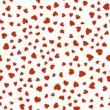 Muster von roten Herzen chaotisch auf weißem Hintergrund stock abbildung