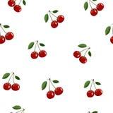 Muster von roten kleinen Kirschaufkleberselben größen mit Blättern auf weißem Hintergrund Lizenzfreie Stockfotos