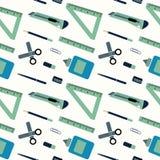 Muster von Schulversorgungen vom Rucksack des Studenten Vektor flach Stockfoto