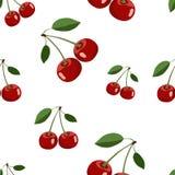 Muster von verschiedenen Größen der roten großen Kirschaufkleber mit Blättern auf weißem Hintergrund Stockbild