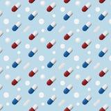 Muster von verschiedenen Pillen und von Kapseln lokalisiert auf blauem Hintergrund lizenzfreie abbildung