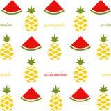 Muster von Wassermelonenscheiben und -ananas Frucht auf weißem Hintergrund Lizenzfreies Stockfoto