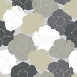 Muster von weißen grauen und beige Rosen Lizenzfreie Stockfotos