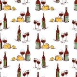 Muster von Weinflaschen und von Weingläsern Stockfoto