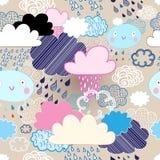 Muster von Wolken und von Regen lizenzfreie abbildung