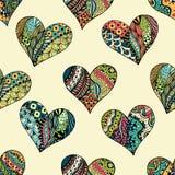 Muster von zentangle Herzen Lizenzfreie Stockbilder