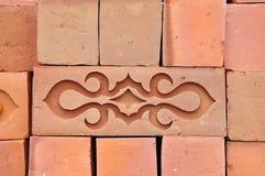 Muster von Ziegelsteinen des roten Lehms Lizenzfreies Stockbild