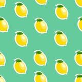 Muster Zitrone und Blätter auf Türkishintergrund Stockbild