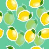 Muster Zitronen- und Blattselbe größen auf Türkishintergrund Transparenzzitrone Lizenzfreie Stockfotografie