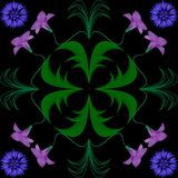 Musterabstraktion blüht blaues violettes grünes Schwarzes Lizenzfreies Stockfoto