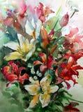 MUSTERgarten-Sommerblumenstrauß des abstrakten Hintergrundes des Aquarells blühen Blumenvon Lilien Beschaffenheitsdekorations-Han Lizenzfreies Stockbild