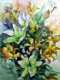 MUSTERgarten-Sommerblumenstrauß des abstrakten Hintergrundes des Aquarells blühen Blumenvon Lilien Beschaffenheitsdekorations-Han Lizenzfreies Stockfoto
