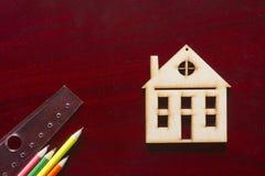 Musterhaus und Ziehwerkzeuge Stockfotos
